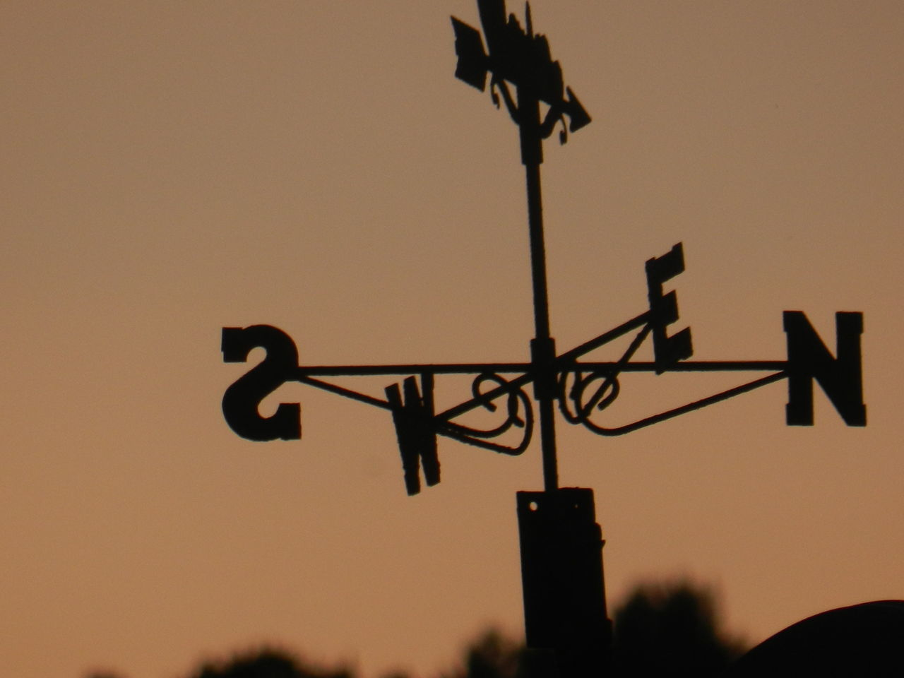 silhouette, direction, guidance, sunset, weather vane, low angle view, communication, no people, dusk, outdoors, clear sky, technology, sky, day, nature