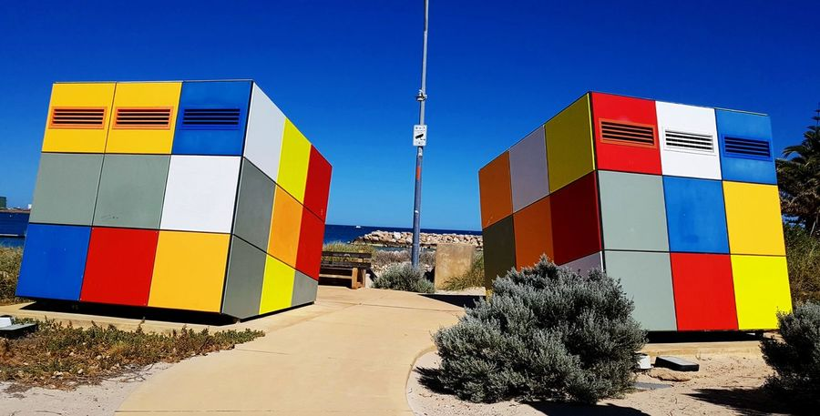 Rubik's cube lavatories, Geraldton Sand Beach Multi Colored Outdoors Sky Architecture Check This Out Western Australia Nature Of Eyeem Mobilephotography The Week On EyeEm Fresh On Eyeem  Showcase December EyeEm Of The Week Hello World Australia 🇦🇺 Travel Destinations No People My Point Of View Lavatory Rubik Cube Uniqueness Geraldton The Graphic City