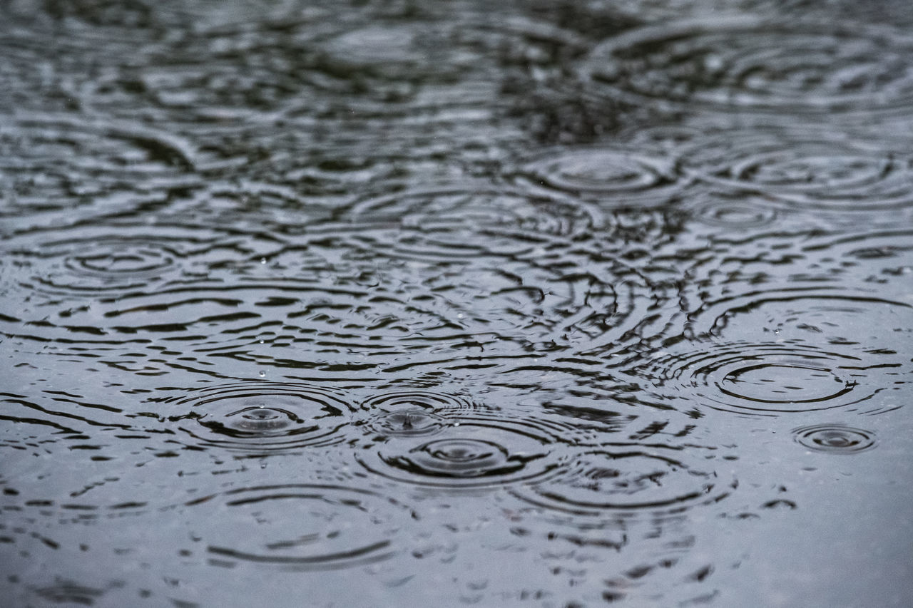Backgrounds Beauty In Nature Circle Close-up Concentric Copy Space Day Drop Full Frame Motion Nature No People Outdoors Puddle Purity RainDrop Rippled Splashing Droplet Water Wet