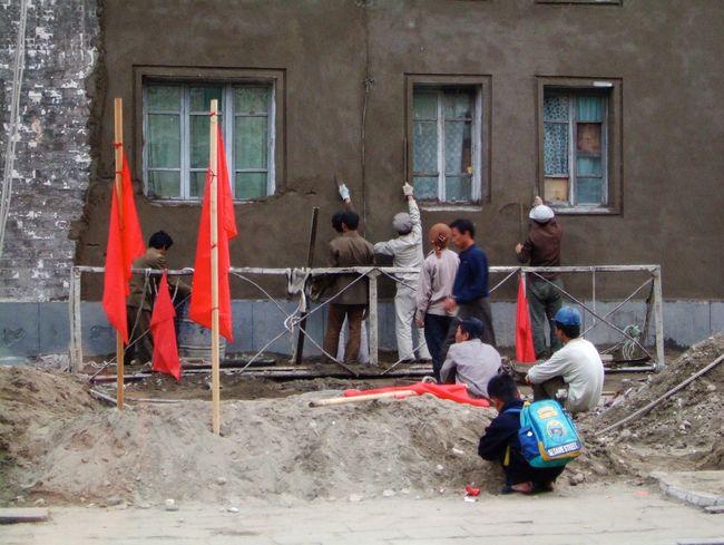 Built Structure Pyongyang North Korea DPRK Workers Men Construction Construction Site