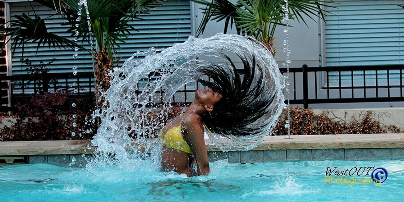 Awesome capture when patient. Jump in and spin it out! Model Photography WestOUT Photogeaphy Water Twirl Warm Weather Shoot Pool Side