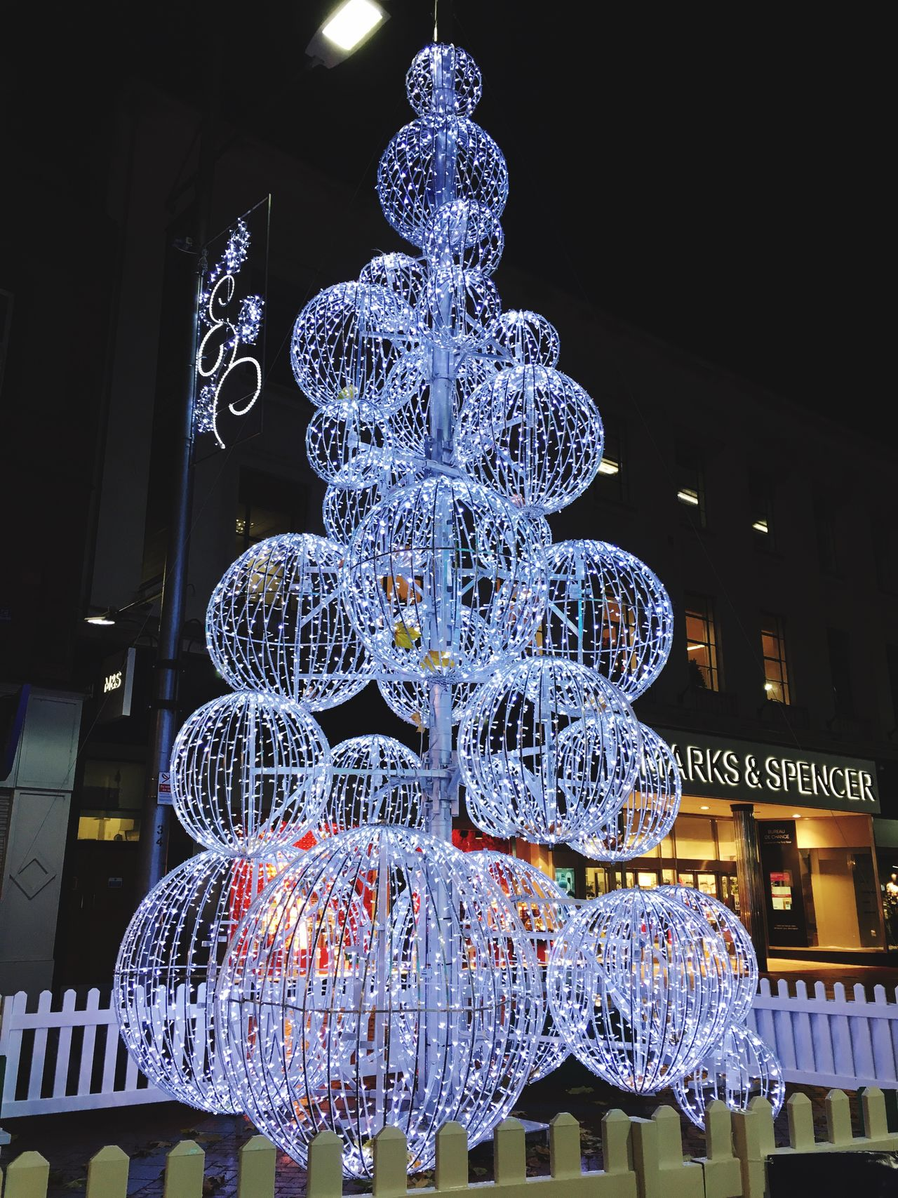 Lights Christmas Is Coming Beautiful Sparkling Lights Reading Town Centre Night Silence Amazing Light Up BallsIlluminated Low Angle View Christmas Ornament