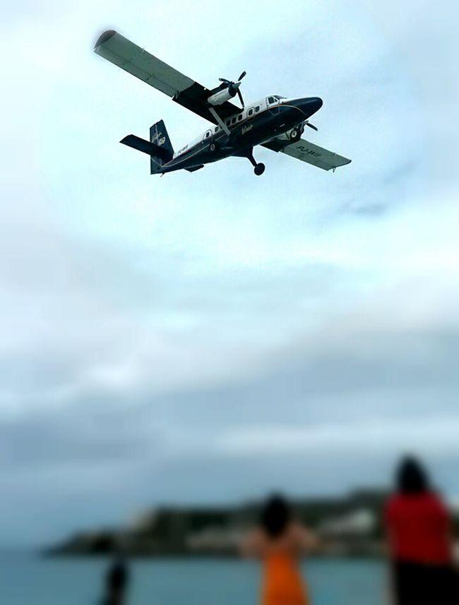 Airplane Airport Beach Destination Flying Mid-air Motion Sky St Maarten