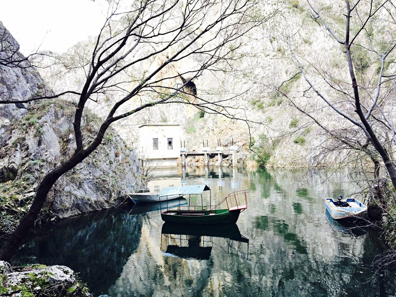 Natural 🍃 Tree Water Canal Beauty In Nature Nautical Vessel Reflection Transportation Nature No People Outdoors Day Built Structure Tranquility Architecture Lake Branch Bridge - Man Made Structure