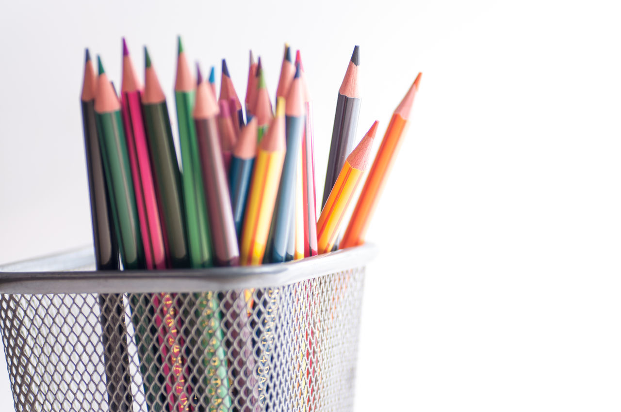 multi colored, variation, white background, colored pencil, large group of objects, choice, no people, group of objects, desk organizer, studio shot, indoors, close-up