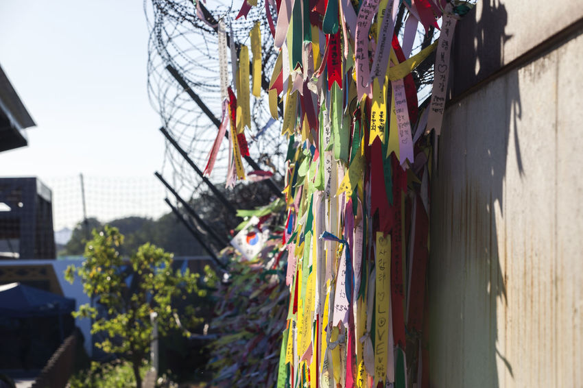 Barbed Wire Close-up Day Focus On Foreground Hanging Imjingak Korean Flag Large Group Of Objects No People Outdoors Ribbon Sky Taegeukgi Variation Wall