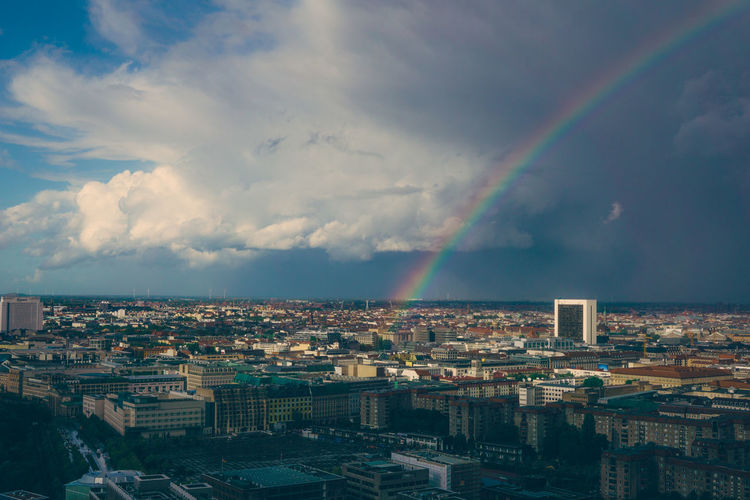 Skyline Tart Architecture Beauty In Nature Building Exterior Built Structure City Cityscape Cloud - Sky Crowded Day Horizon Nature Outdoors Rainbow Sky Urban