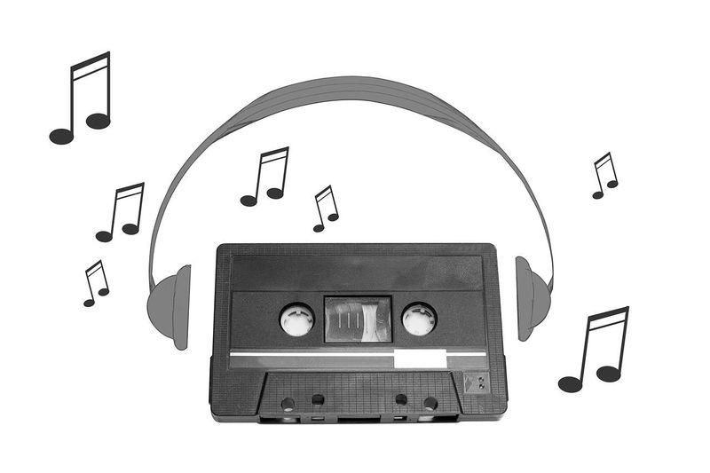 Audiotape and headphone draw on white background Audiotape Audio Cassette Compact Cassette Draw Earphones Headphone Headphones Listen Music Phones Retro Shape Sound Tape Technology Vintage