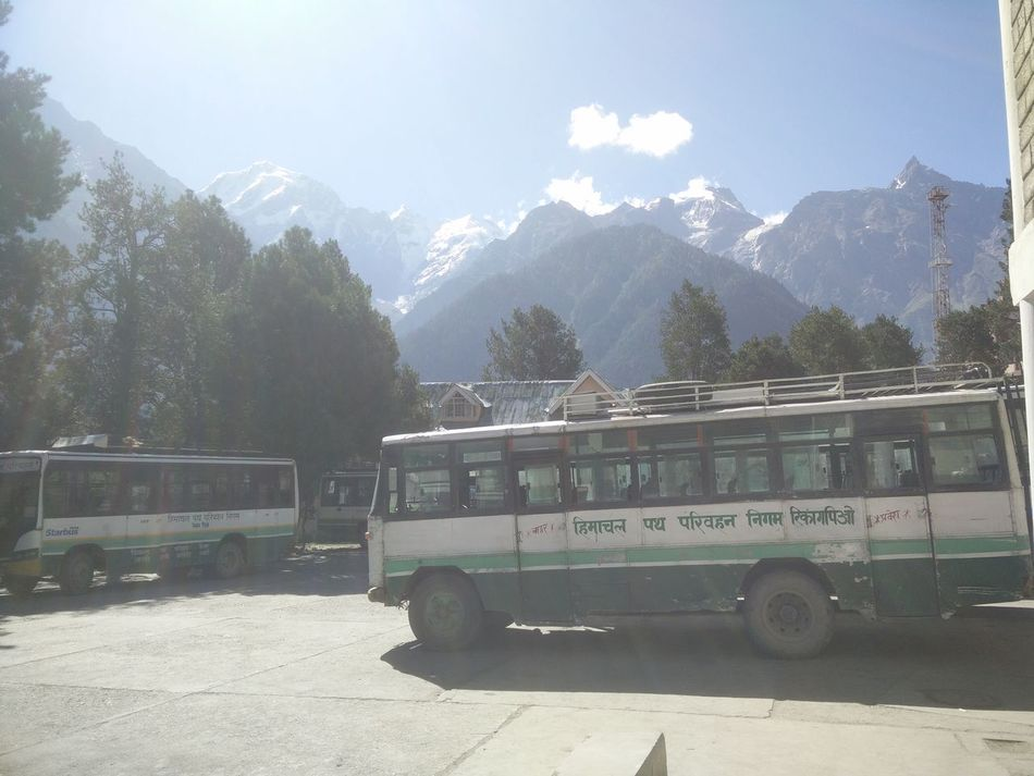 Travel Until You Can... Outdoors Landscape Tranquil Scene Nature Blue Sky Beauty In Nature Mointains Backpack Solitude Himalayas ReckongPeo Shivling Transportation Transport Himachal Pradesh, India Himachalroadtransport Busrides Himachalpictures