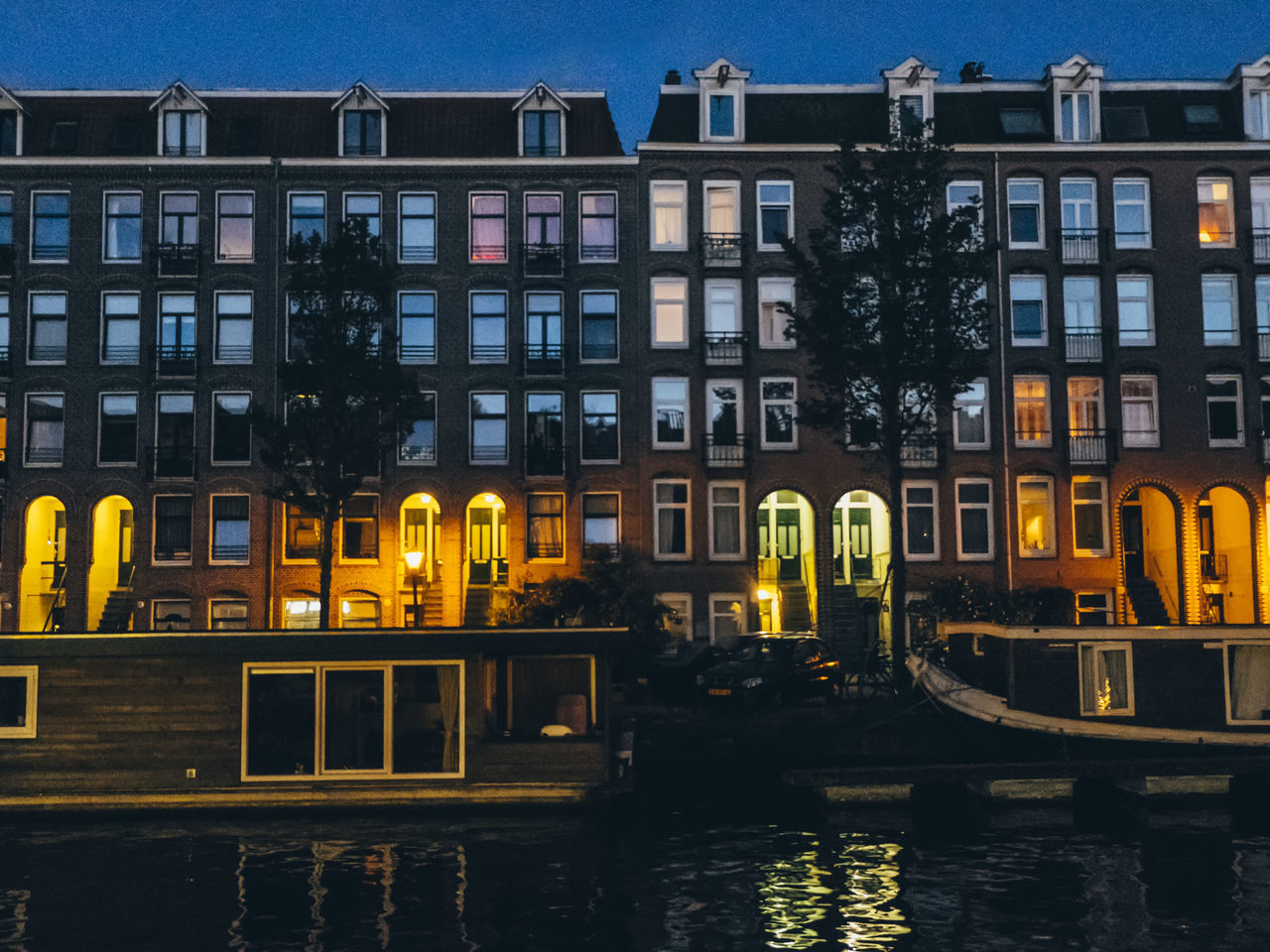 Amsterdam Architecture Building Exterior Built Structure Canal City Netherlands Night No People Outdoors Residential Building Sky Travel Destinations Water Waterfront Window