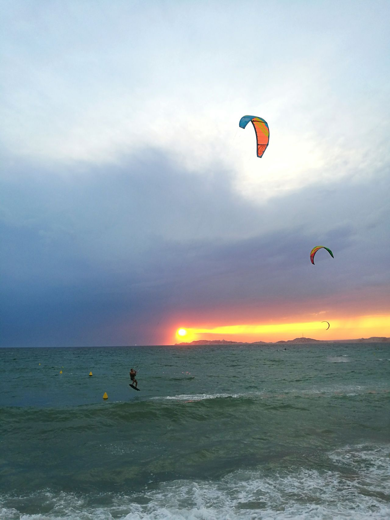 Romantic Sky Landscape Outdoors Flying Leisure Activity Sea Kitesurfing Kytesurf Sunset Marseille Cloud - Sky