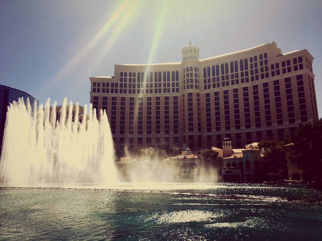 Las Vegas Nevada Bellagio Fountains Water Fountain Power In Nature Built Structure Building Exterior Tourist Show Music