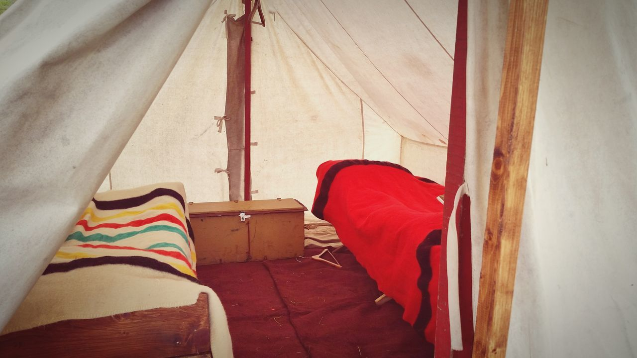 Inside a tent at Seven Year's War re-enactment Red Day No People Indoors  Low Section Tent Inside Tent Cot Sleeping Quarters Vintage Military The EyeEm Collection