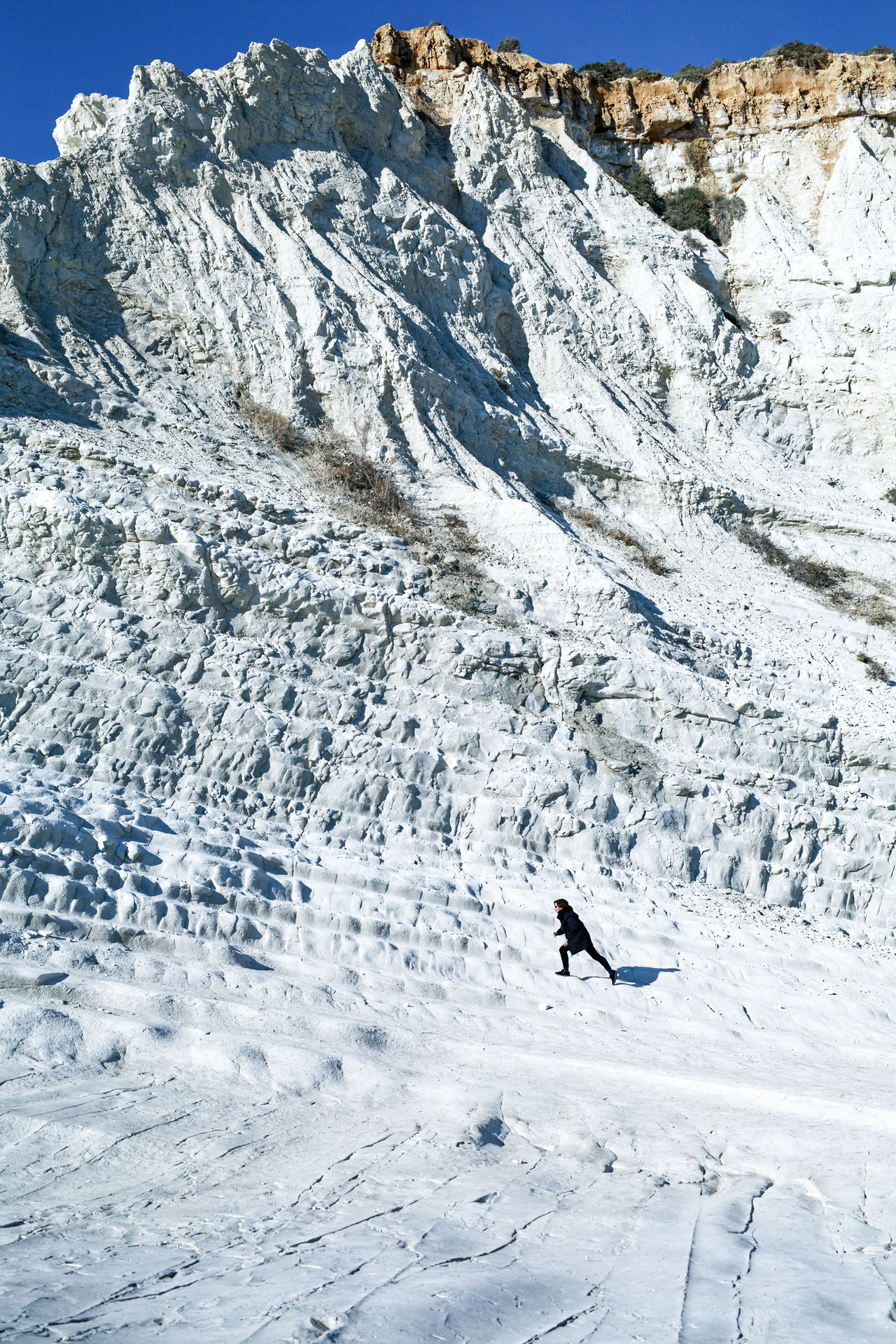 Adventure Beauty In Nature Cold Temperature Day EyeEmNewHere Italia Italy Lifestyles Mountain Mountain Range Nature One Person Outdoors Real People Run Scala Dei Turchi Scenics Sicilia Sicily Sicily, Italy Ski Holiday Vacations Winter