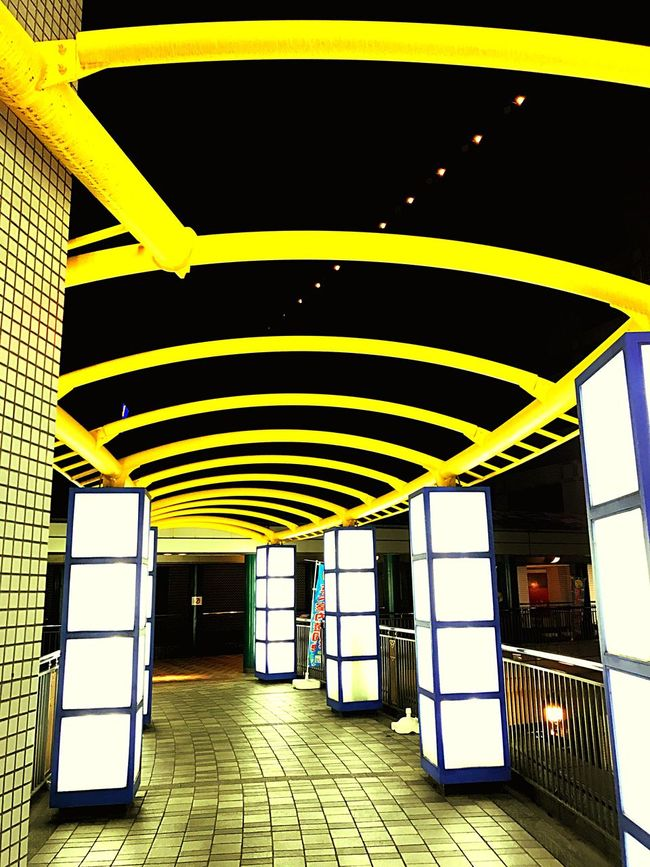 Yellow Architecture Built Structure Illuminated Indoors  No People Day