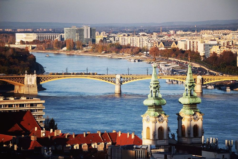 Blue Danube Danube River Danube Budapest City Cityscape High Angle View Bridge - Man Made Structure River Day Architecture Connection Outdoors Fresh On Eyeem  The City Light
