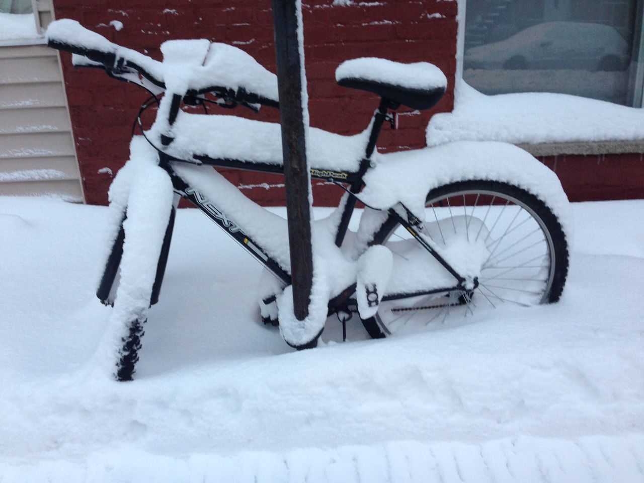 winter, snow, cold temperature, weather, white color, bicycle, transportation, mode of transport, nature, outdoors, day, land vehicle, field, stationary, no people, tobogganing