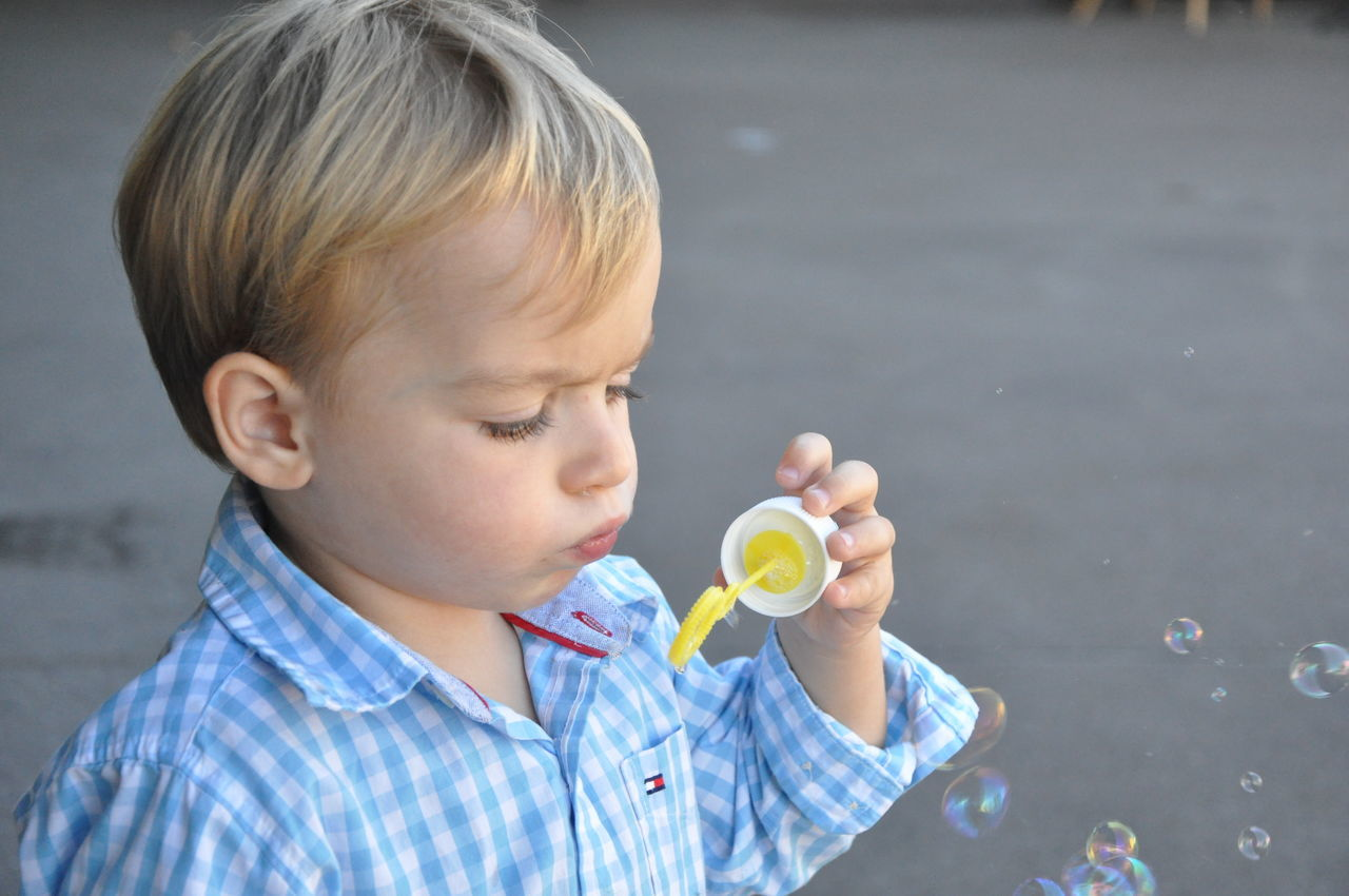 Beautiful stock photos of cute, Blond Hair, Blowing, Boys, Bubble