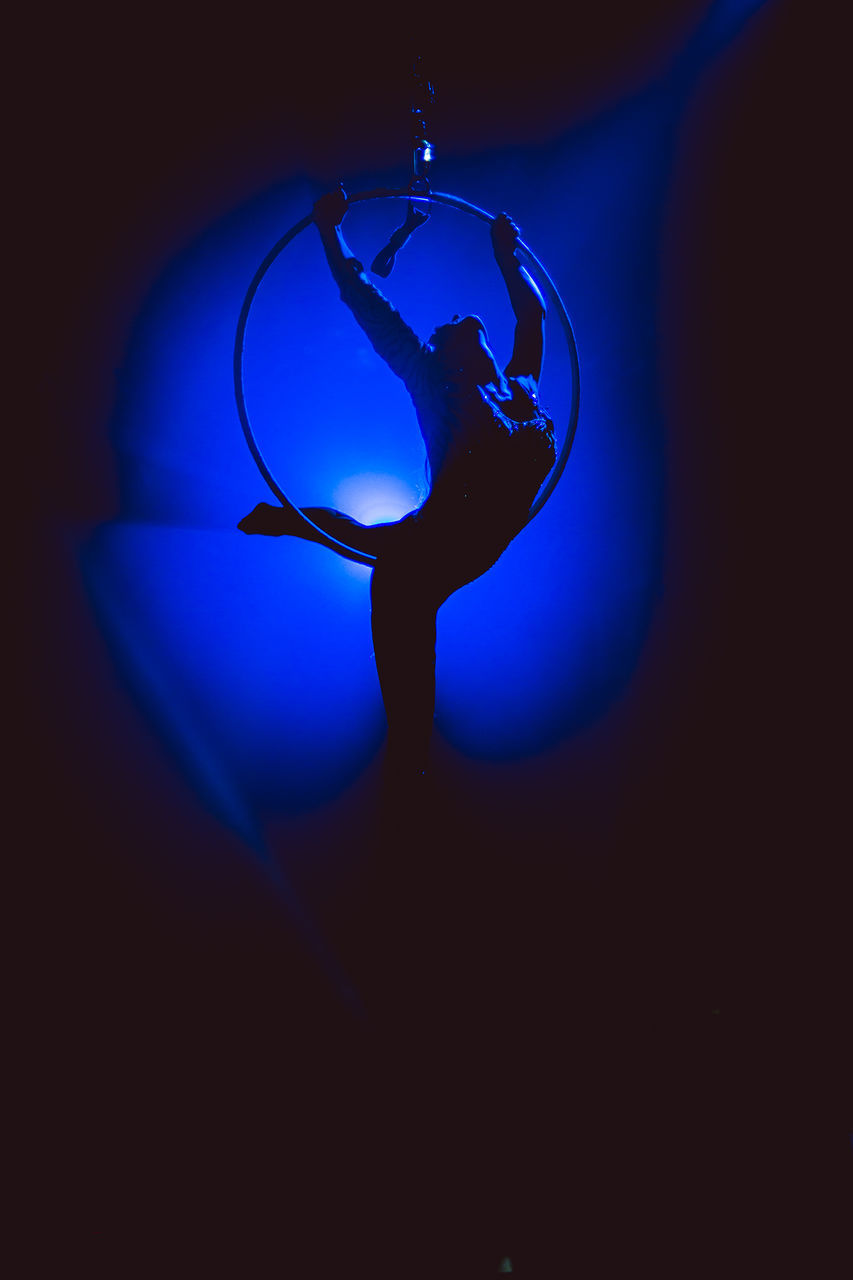 blue, real people, swimming, lifestyles, silhouette, indoors, illuminated, water, underwater, one person, close-up, sea life, undersea