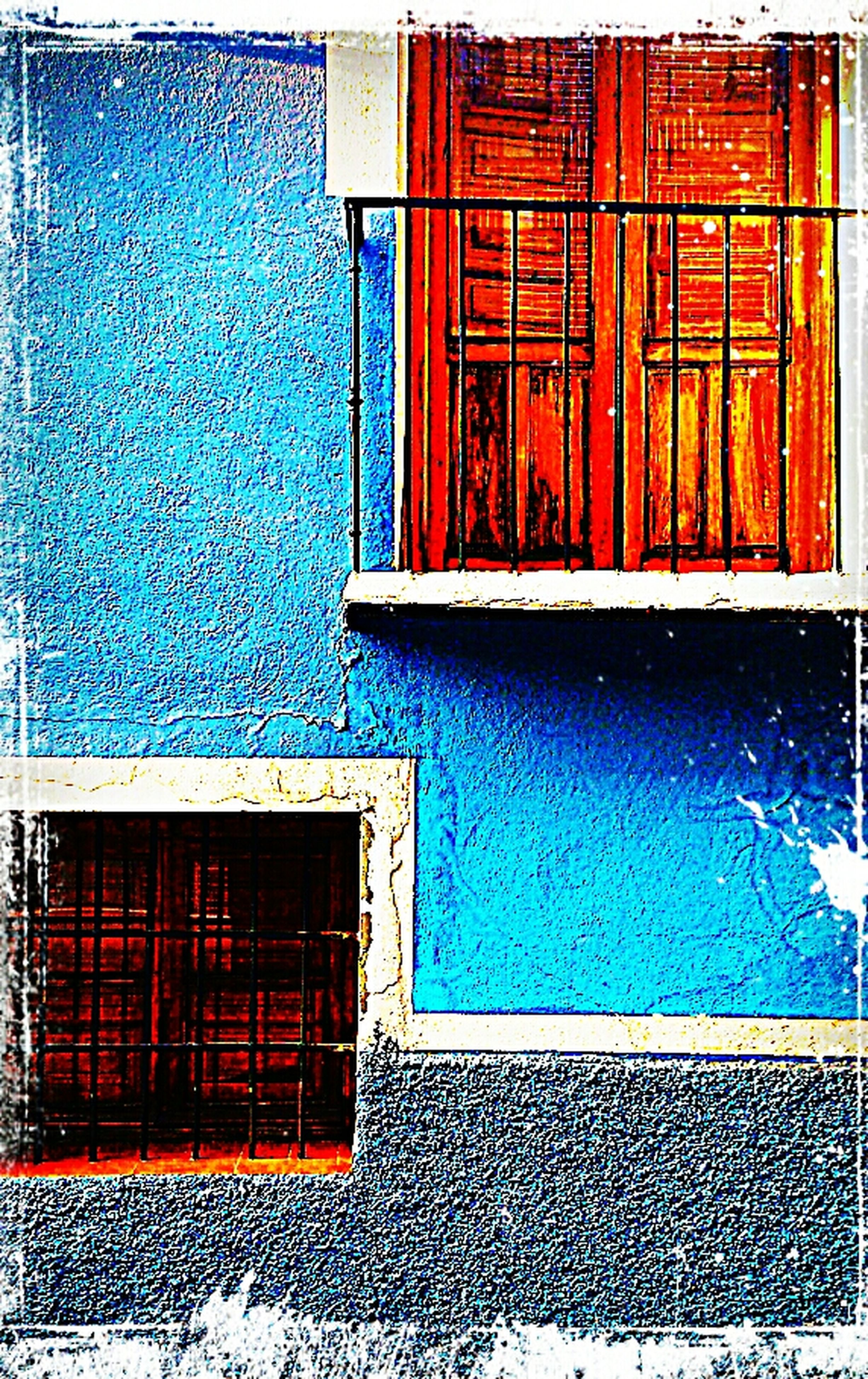architecture, built structure, building exterior, blue, window, wall - building feature, house, closed, door, wall, residential structure, day, outdoors, no people, brick wall, building, residential building, protection, red, sunlight