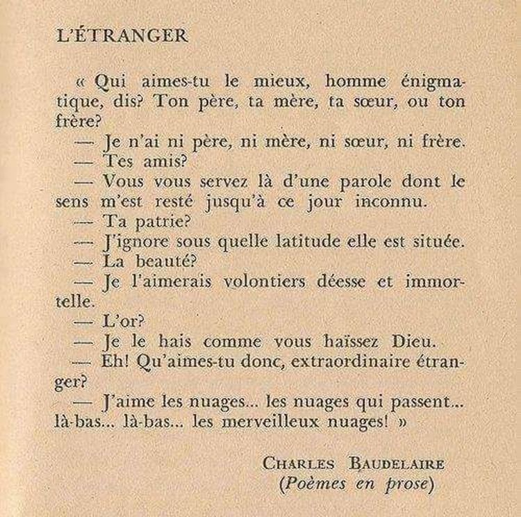 Baudelaire Prose L'étranger Poeme Poetic Poesia Charlesbaudelaire