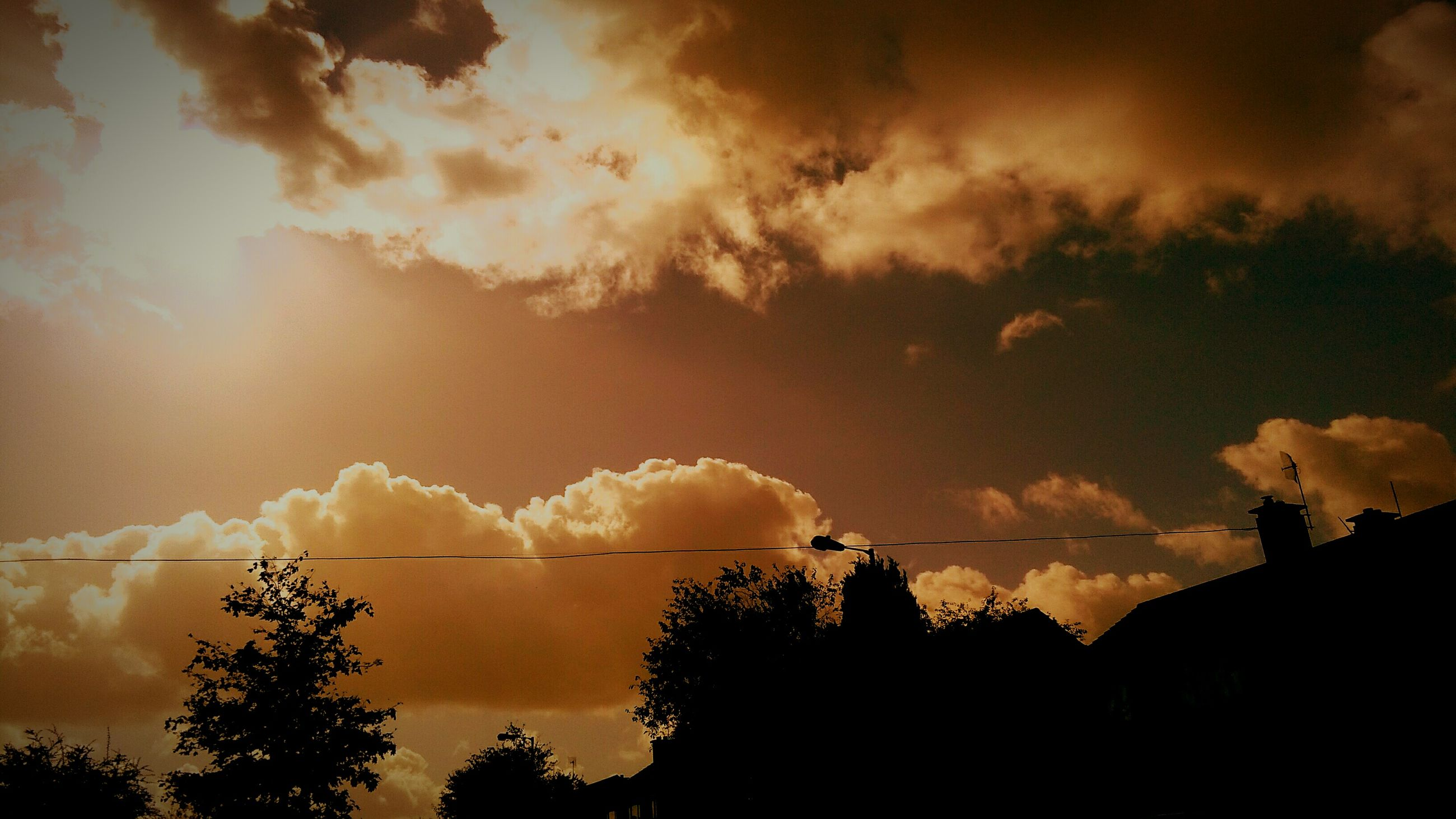 silhouette, tree, sunset, sky, scenics, cloud - sky, beauty in nature, tranquil scene, cloud, tranquility, nature, outline, cloudscape, growth, cable, power line, outdoors, day, cloudy, high section, sunbeam, solitude, dramatic sky, no people, majestic, treetop, atmospheric mood, remote, storm cloud