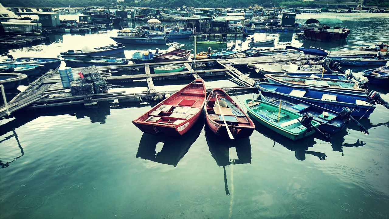 high angle view, water, nautical vessel, day, outdoors, moored, transportation, no people, harbor, nature