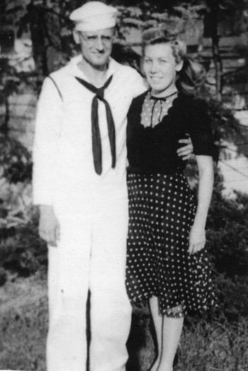 1940s Family Lifestyles Marraige Outdoors People Real People Sailor Standing Togetherness Two People Uniform Wartime