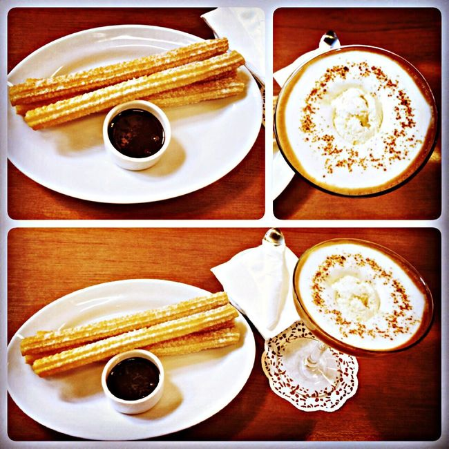 4 churros with dark chocolate + Affogato without alcohol Taking Photos Enjoying Life Coffee Churros