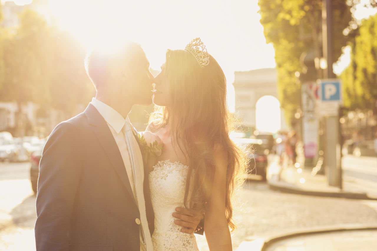 Bride Bride And Groom Champs-Élysées  Couple Embracing France French Groom Just Married Kissing Love Love Lovers Outdoors Paris Street Summer Sunlight Sunset Tender Tiara Two People Wedding Wedding Day Wedding Photography
