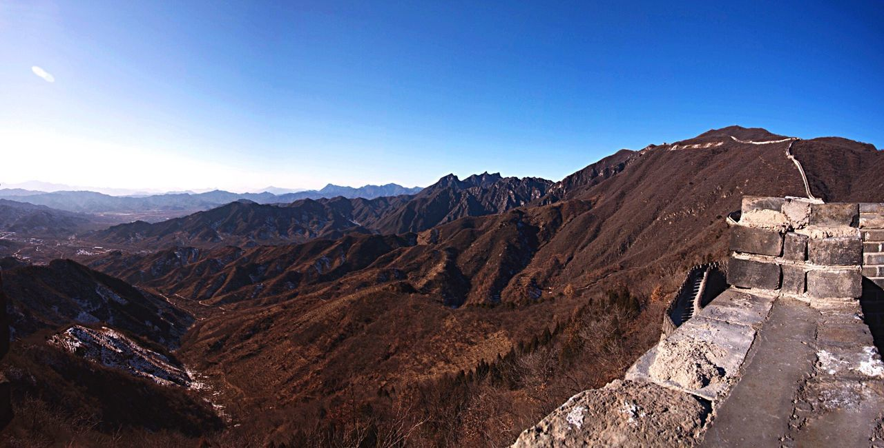 The Great Wall The Great Wall Of China Mountains Mountain Range View Landscape Panorama Nature Outdoors China Asian  Travel Traveling Heritage Culture History Architecture Travel Destinations Beauty In Nature Sunlight Blue Sky Chinese Beijing ASIA
