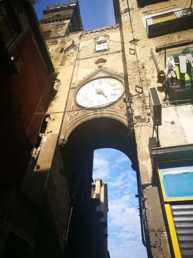 Built Structure Low Angle View Architecture Building Exterior Arch Tower City Clock Tower Window Clear Sky History Outdoors Sky Travel Destinations Day Famous Place Tall - High Arched Historic Old Town Napoli ❤