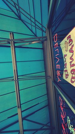 Blue Low Angle View Multi Colored Neon Sign Reastaurant