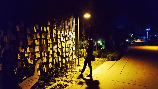 Relaxing Illuminated Street Standing One Woman Only Night Outdoors Footpath Taichung Taiwan Wishingwell
