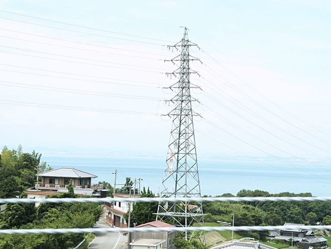 Japan Japan Photography Sea Cable Built Structure Sky Electricity Pylon Power Line  Electricity  Power Supply Architecture Building Exterior Tree Connection Outdoors No People Clear Sky Day Growth Nature 日本 海 電柱 空