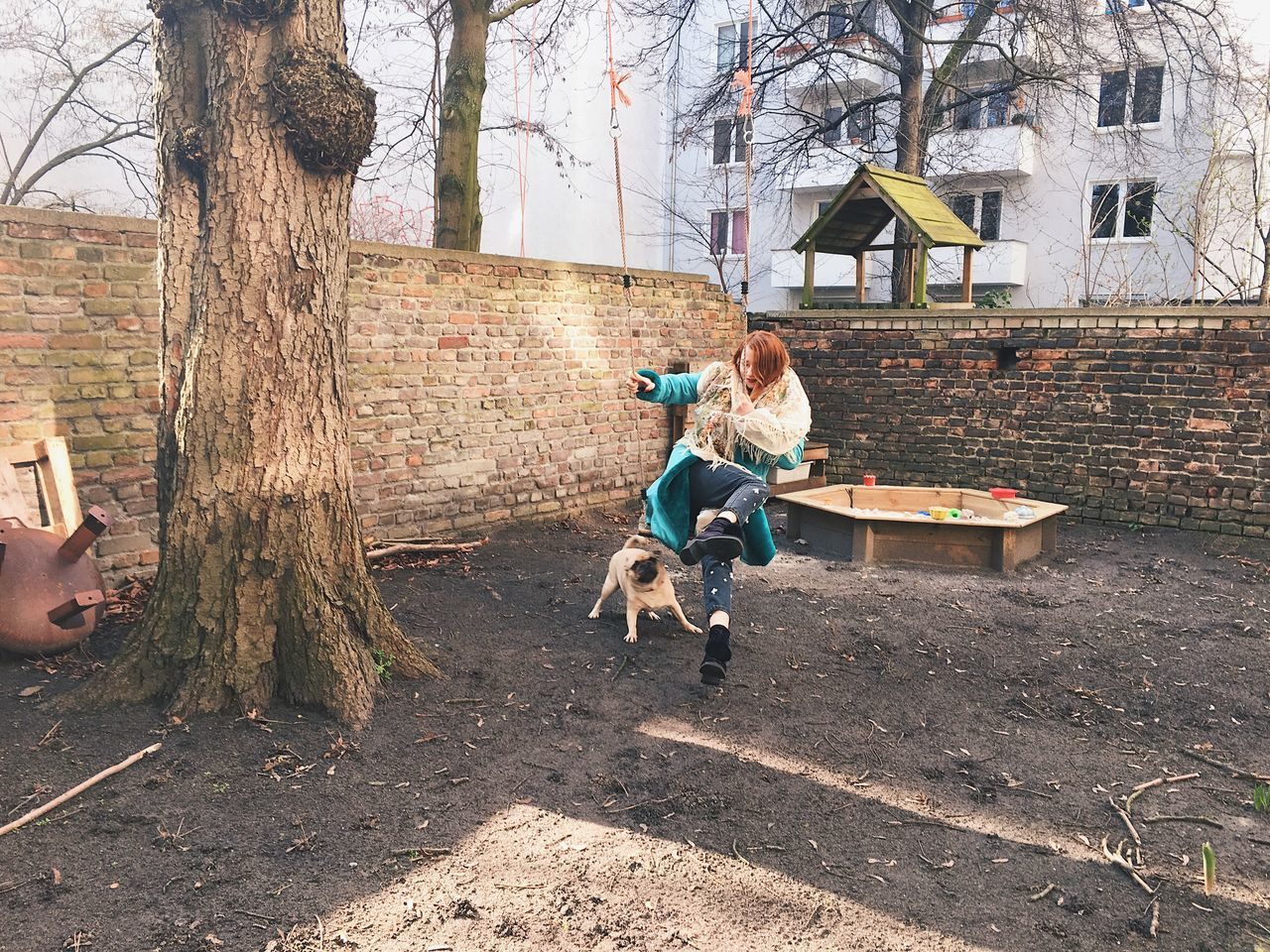 dog attack Bonding Childhood Day Dog Fun Fun Innocence Leisure Activity Pets Playground Playing Sitting Swing Tree Young Adult