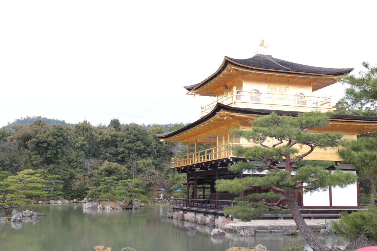 Architecture Building Exterior Built Structure Clear Sky Day Golden Temple Japan Japan Photography Kinkakuji Temple Kyoto Lake Nature No People Outdoors Place Of Worship Religion Roof Sky Traditional Building Tree Water