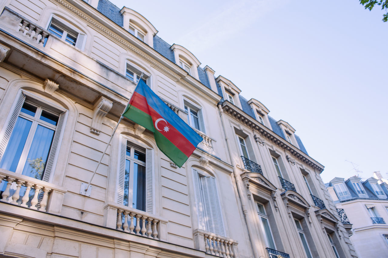 Azerbaijan Flag Architecture Azerbaijan Blue Sky Building Clear Sky Country Flag Goverment  Hanging Political