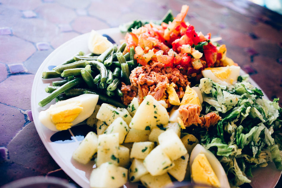 Close-up Day Dishes Egg Salad Egg Yolk Food Food And Drink Freshness Healthy Eating Indoors  Lunch Lunchtime Marrakesh Moroccan Salad Moroccan Style No People Plate Ready-to-eat Salad Salad On Table Serving Size Thai Food Yum Yum Yummy