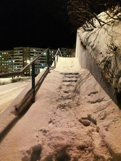 Winter Snowy Day in Murmansk Night Photography Small City Life City Of Thousands Stairs Night View Light And Shadow Walking Around