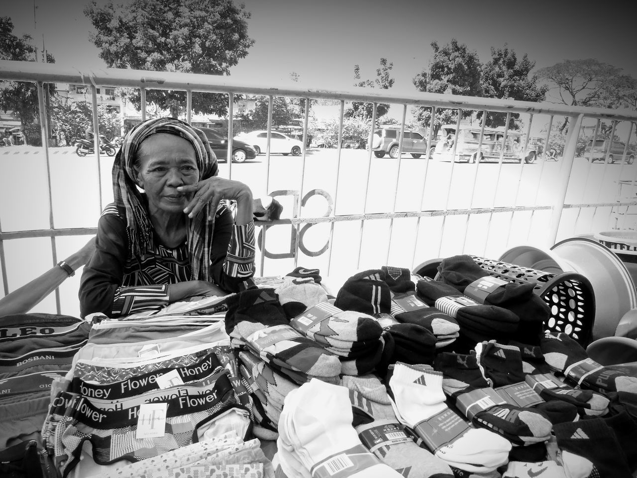 Store One Person Eye4photography  Eyeem Philippines Blackandwhite Street Photography One Woman Only People Photography Streetphotography Urban Lifestyle Real People Monochrome Photography Street Photography Outdoors Woman At Work Monochrome Black And White Photography