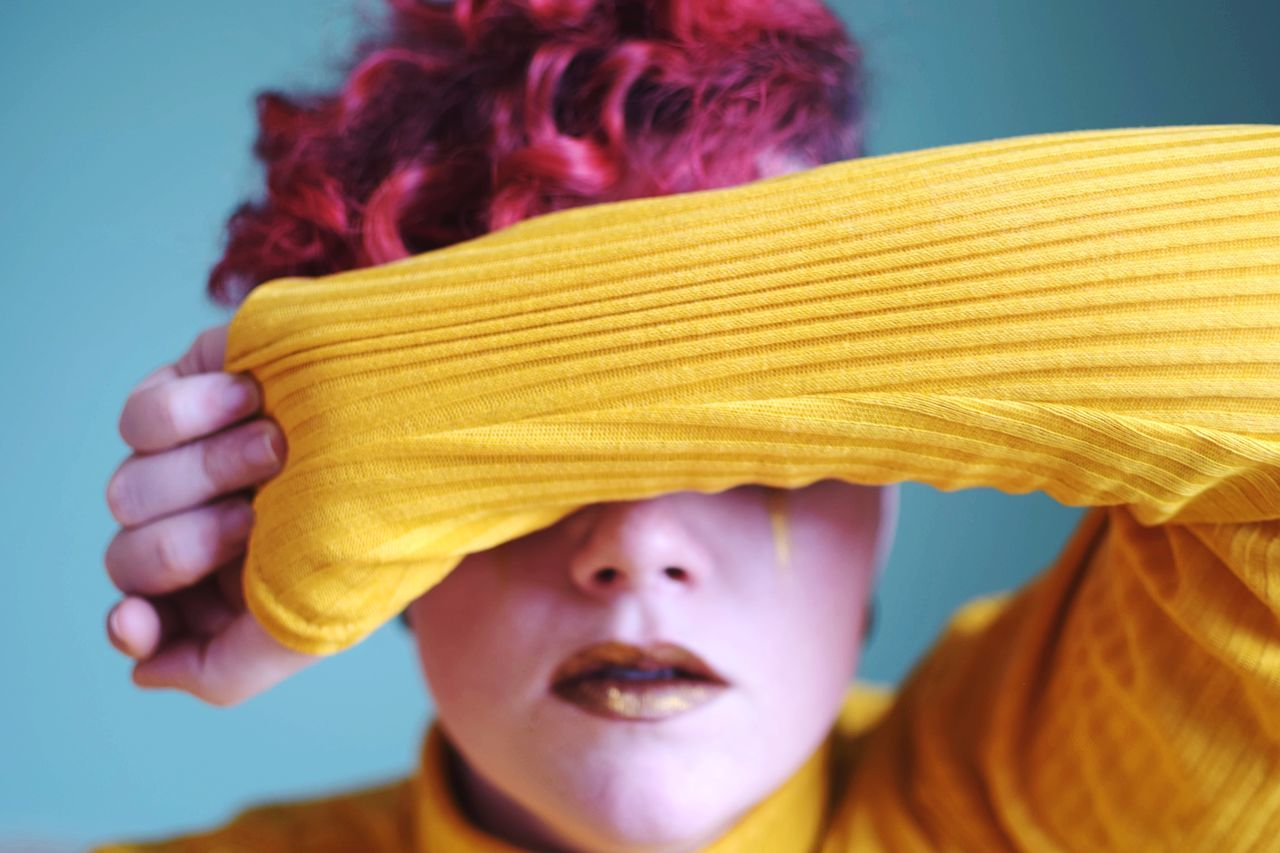 Vibrant. vibrant color turtleneck strong woman Portrait of a Woman Plus Size Beauty curly hair retro styled yellow yellow color headshot one person real people head and shoulders front view close-up childhood day lifestyles young adult people