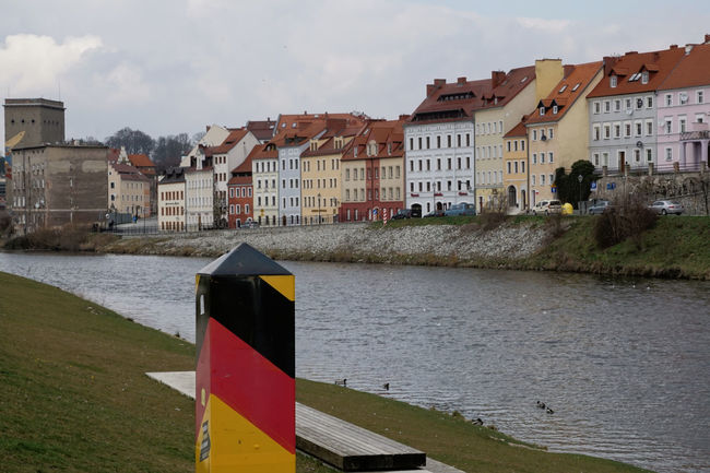 Architecture Boarder Border Building Exterior Built Structure Canal City Day Germany Grass Görlitz / Zgorcelec Natural Borders Outdoors Poland Residential Structure River Sky Water Waterfront