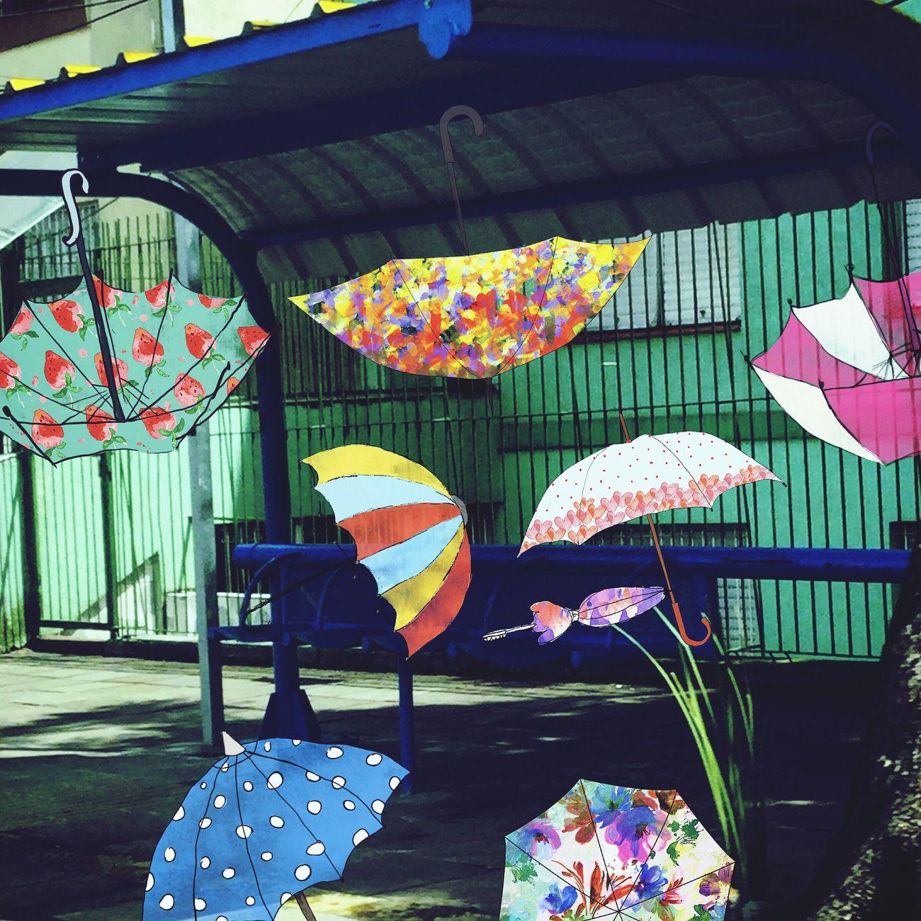 Umbrellas and colors. Picsart