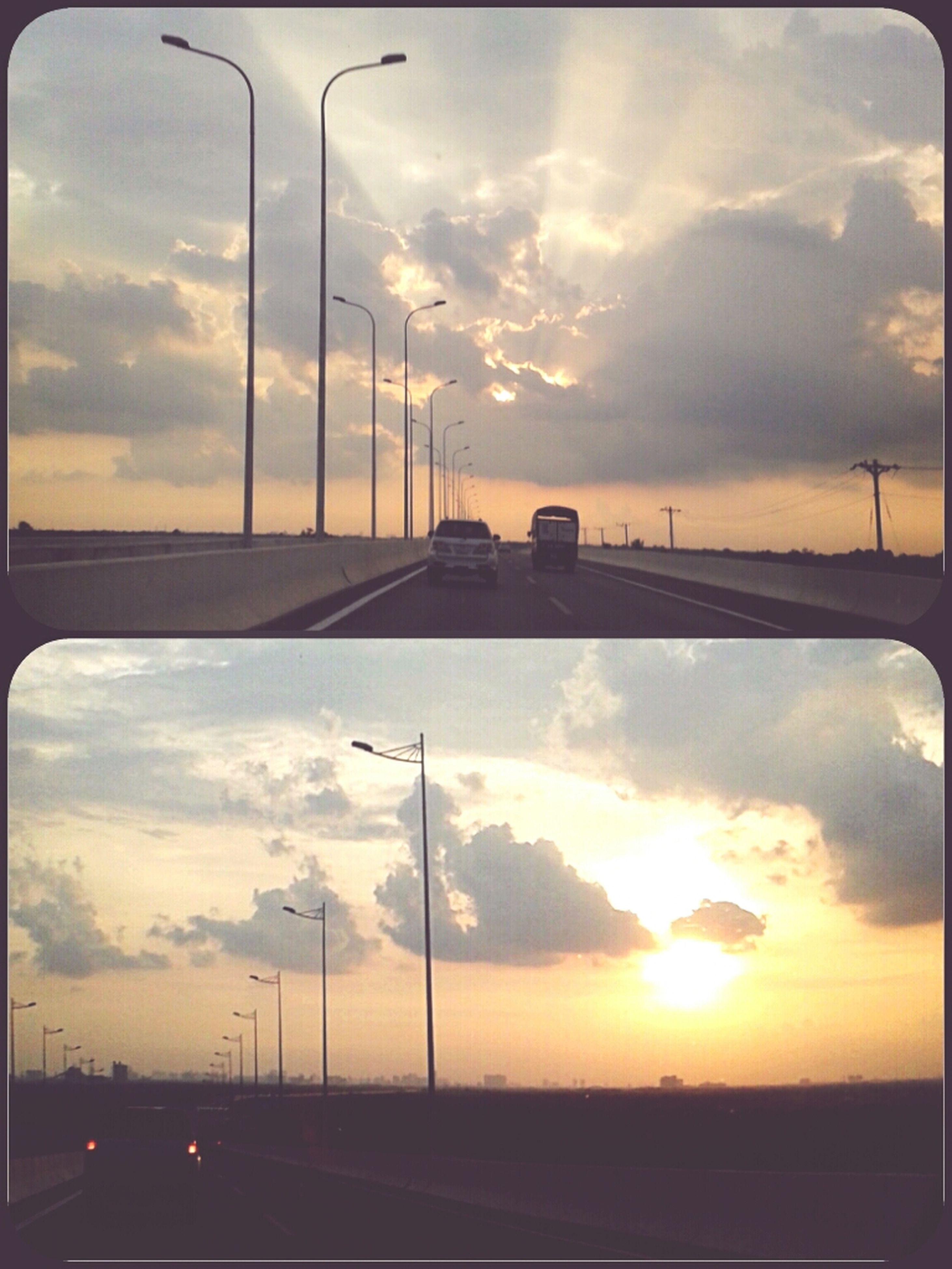 sunset, sky, transportation, cloud - sky, road, car, orange color, street light, cloudy, sun, cloud, the way forward, dramatic sky, land vehicle, silhouette, mode of transport, sunlight, street, diminishing perspective, nature