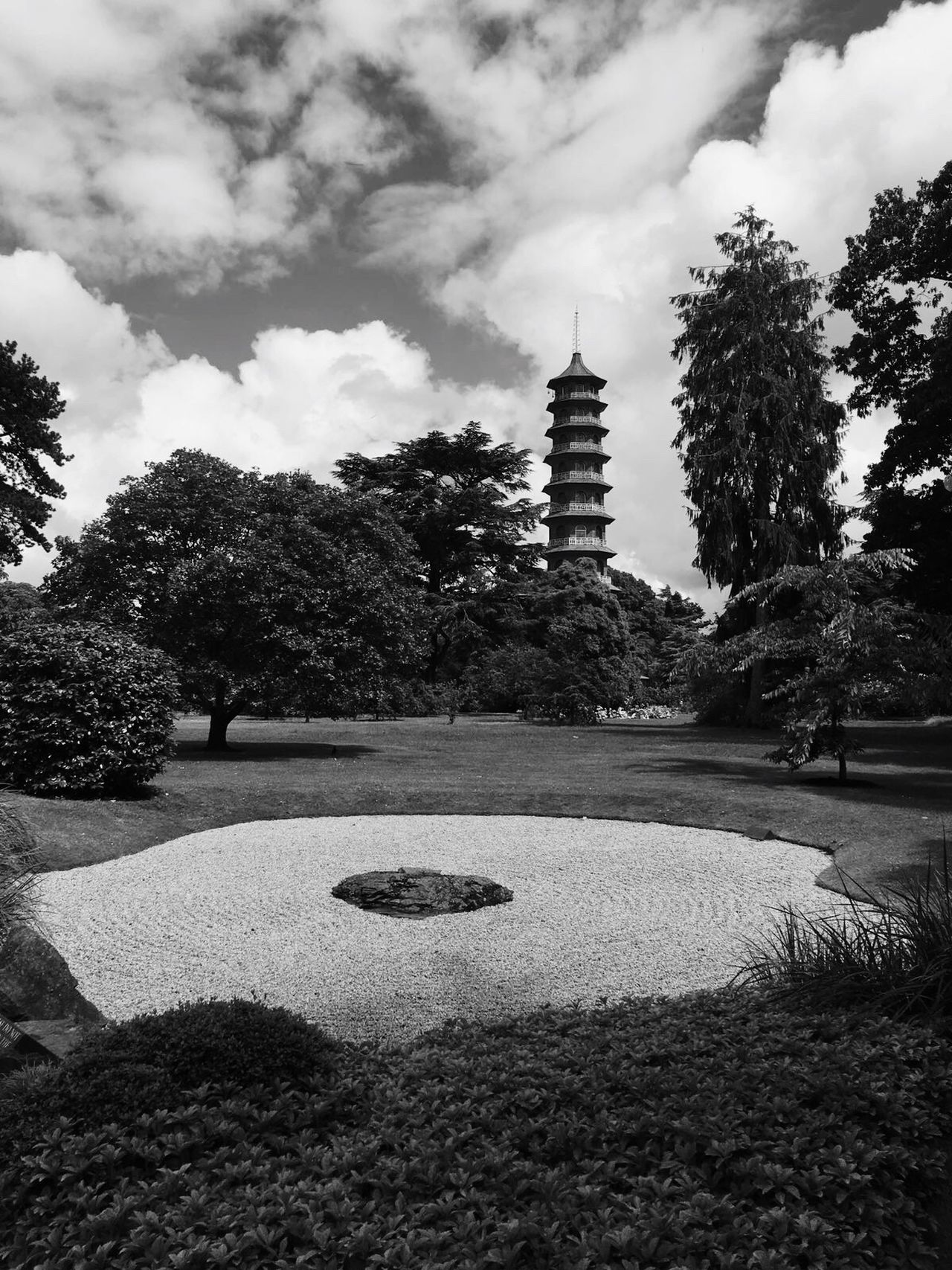 Sky Tree Cloud - Sky Outdoors No People Growth Day Architecture Nature Beauty In Nature Japanese  Building Kew Kew Gardens Black And White Cloud Architecture Zen Zen Garden Sculpture Peace Relaxation Mindful Reflection