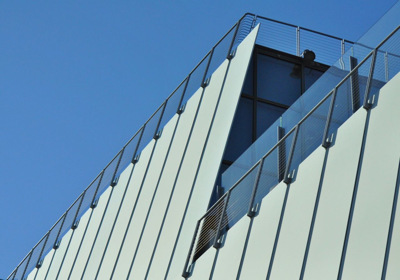 Low Angle View Architecture Building Exterior Clear Sky Built Structure New York New York City Manhattan Urban Geometry Lines Diagonal Whitney Museum High Line Park Grey
