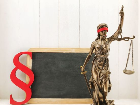 Law Blackboard  Paragraph Section Chalkboard Lady Justice Justice - Concept Justice Justitia Statue Sculpture Built Structure No People Indoors  Architecture Day