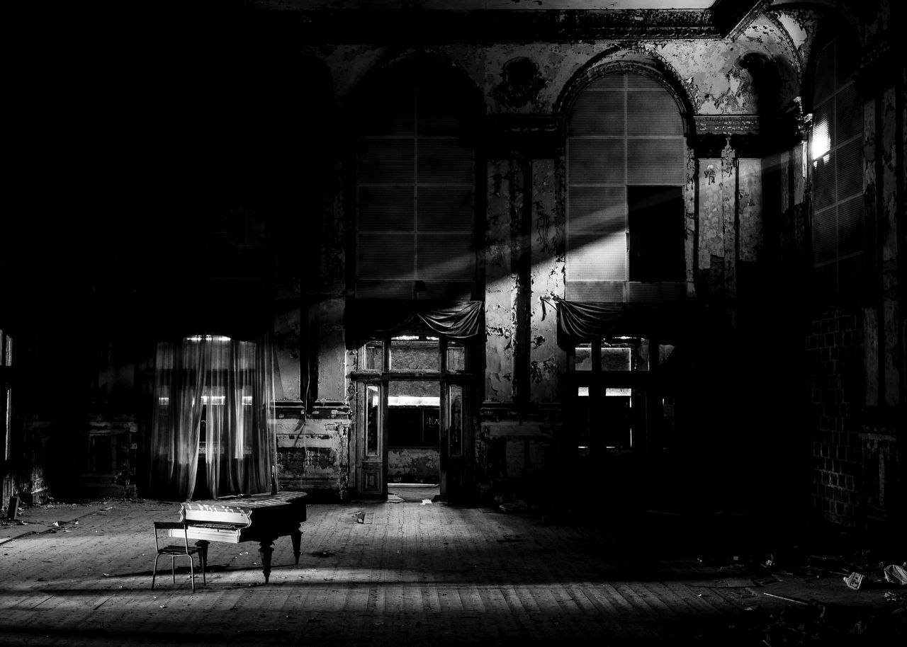 Abandoned Architecture Ballroom Black & White Black And White Blackandwhite Built Structure Concert Hall  Day Hall Indoors  Indoors  Instrument Instruments Klavier Lost Place Lost Places Music Music Instrument No People Noir Piano Piano Moments