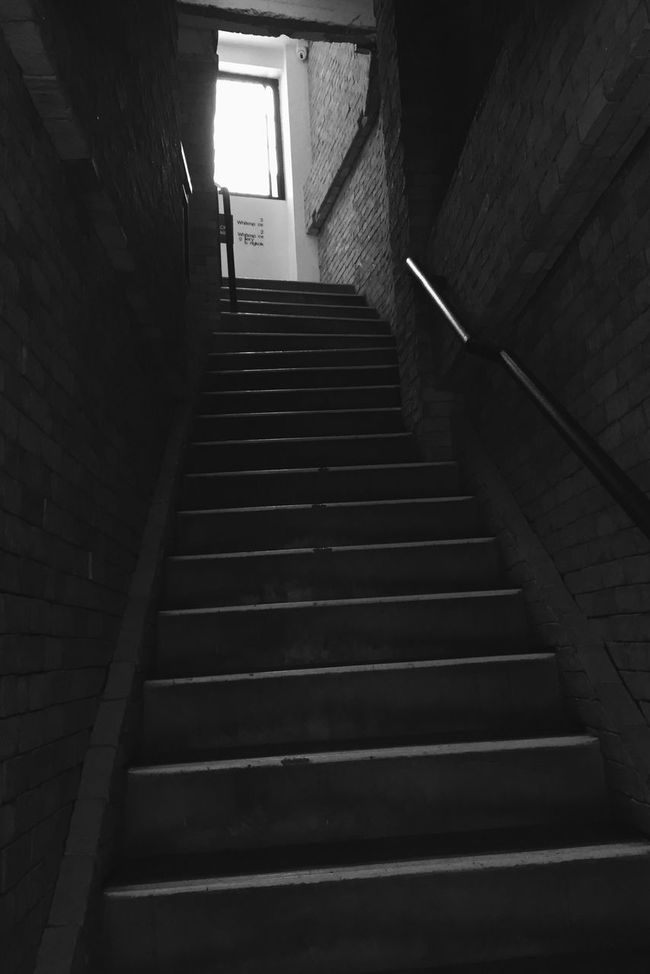Steps Steps And Staircases Staircase The Way Forward Low Angle View Architecture Stairs Indoors  Built Structure Illuminated No People Stairway Hand Rail Day Blackandwhite
